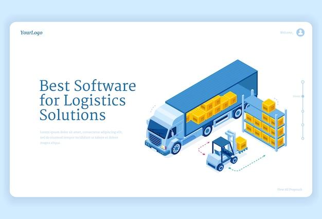 Logiciel pour la page de destination isométrique des solutions logistiques