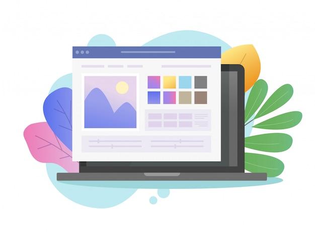 Logiciel de retouche photo en ligne sur ordinateur portable
