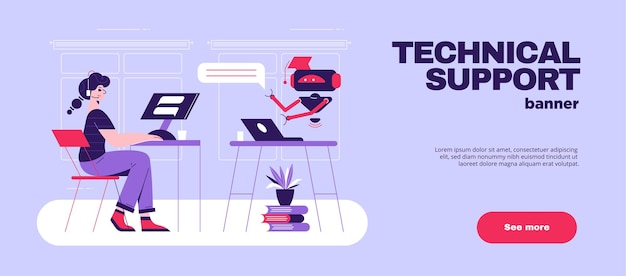 Logiciel de support technique de chatbot intelligence artificielle bannière de site web horizontal plat avec robot répondant aux questions des clients illustration