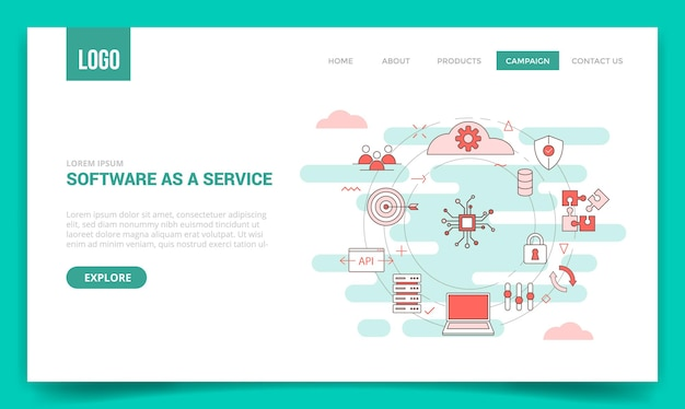 Logiciel en tant que concept de service saas avec icône de cercle pour modèle de site web ou page de destination, style de contour de page d'accueil