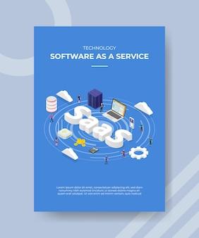 Logiciel de technologie en tant que service personnes debout serveur portable routeur cloud saas texte pour modèle de flyer de bannière