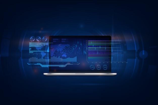 Logiciels, développement web, programmation. programmation abstraite et code de programme sur un ordinateur portable à écran