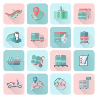 Logistique icônes définies à plat