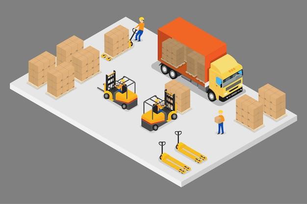 Logistique isométrique 3d et entrepôt