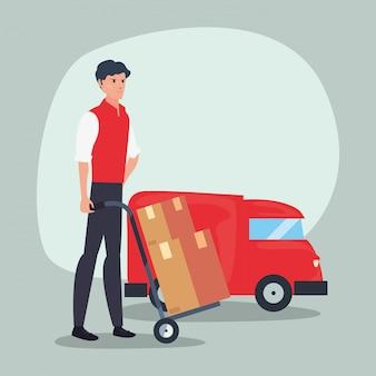 Logistique de livraison rapide de camion homme