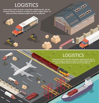 Logistique low poly bannières horizontales isométriques.