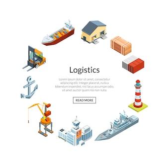 Logistique maritime isométrique