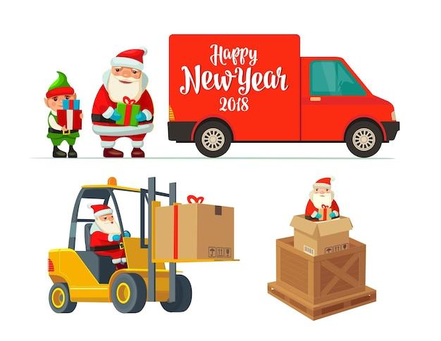 Logistique père noël et elfe avec un cadeau chariot élévateur porte une boîte illustration plate nouvel an