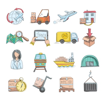 Logistique sketch icons set