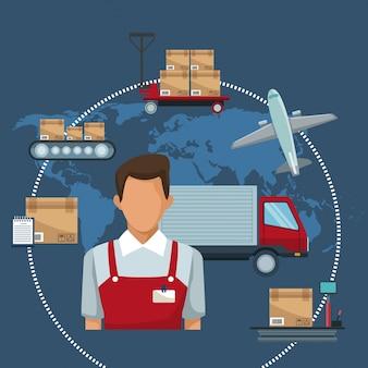 Logistique de stockage d'icônes et camion closeup avec courrier de livraison