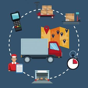 Logistique de stockage d'icônes et camion closeup avec emplacement de la carte