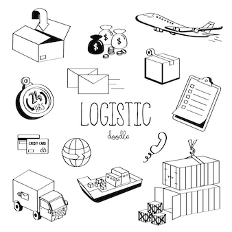 Logistique de styles de dessin à la main. doodle logistique