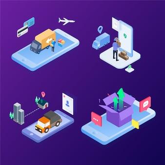 La logistique système moderne. expédition rapide en utilisant la future technologie internet. illustration vectorielle isométrique.