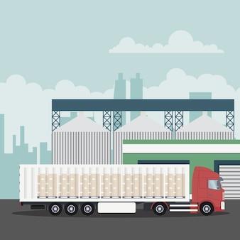 Logistique de transport industriel avec camion porte-conteneurs
