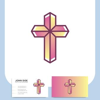 Logo 3d de l'église moderne en croix