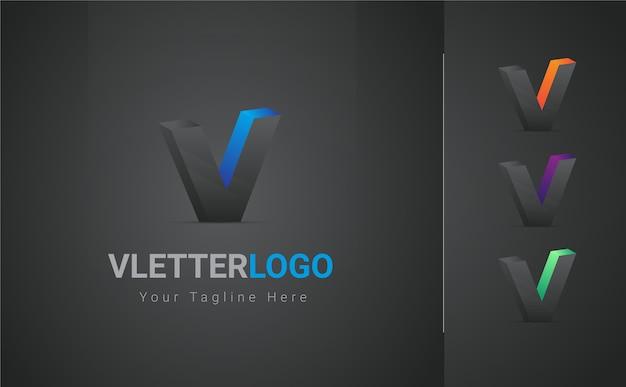 Logo 3d de lettre v