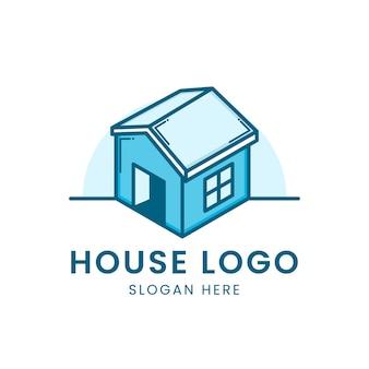 Logo 3d maison bleue en blanc