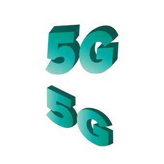 Logo 5g en style isométrique. logo 5g vert isolé sur fond blanc. vecteur.