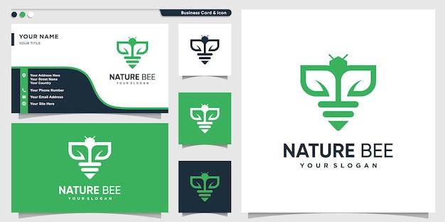 Logo d'abeille avec le concept de nature verte biologique vecteur premium