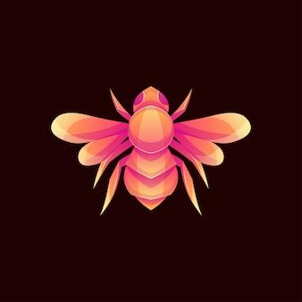 Logo d'abeille de couleur moderne