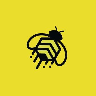 Logo abeille sur jaune