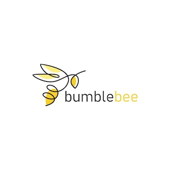Logo d'abeille en ligne continue