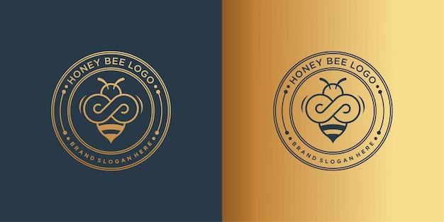 Logo d'abeille à miel avec un concept à la recherche d'or et créatif vecteur premium