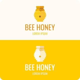 Logo abeille miel. logo élégant et moderne pour les produits de la ruche.