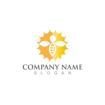 Logo d'abeille en nid d'abeille et image vectorielle de symbole