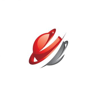 Logo abstrait 3d sphère rouge coloré