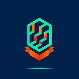 Logo abstrait bâtiment d'affaires avec ruban sur fond bleu marine, concept immobilier