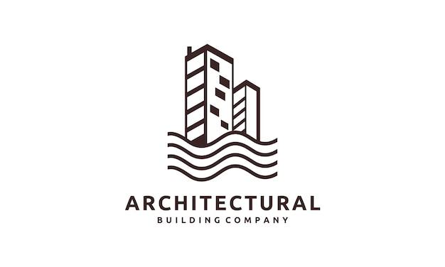 Logo abstrait de bâtiment d'immobilier commercial