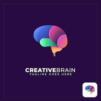 Logo abstrait de cerveau coloré