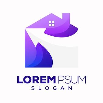 Logo abstrait flèche maison colorée