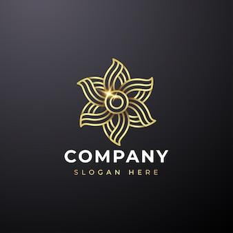 Logo abstrait fleur d'or