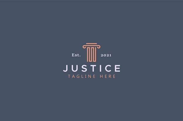 Logo abstrait de forme de pilier de droit et de justice.