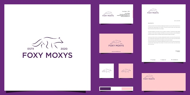 Logo abstrait fox et conception d'identité de marque