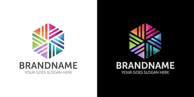 Logo abstrait géométrique coloré d'entreprise