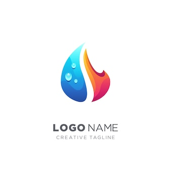 Logo abstrait goutte et feu d'eau