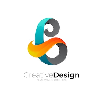 Logo abstrait lettre b avec modèle de conception colorée