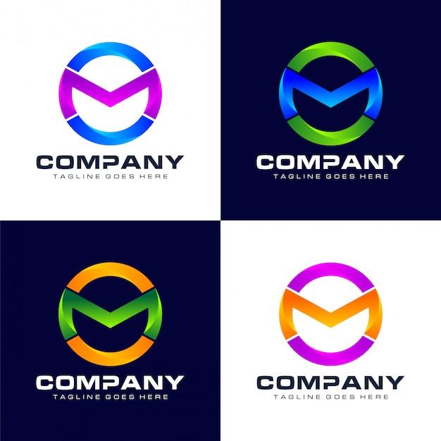Logo abstrait lettre m cercle