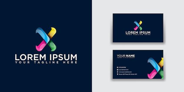 Logo abstrait lettre x avec modèle de carte de visite