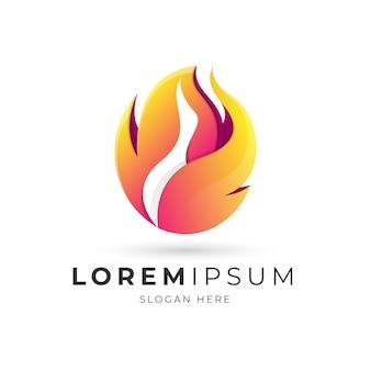 Logo abstrait oie et flamme