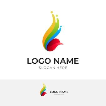 Logo abstrait d'oiseau, logos colorés 3d