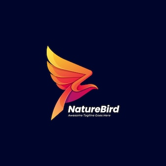 Logo abstrait oiseau volant