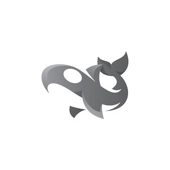 Logo abstrait orque baleine