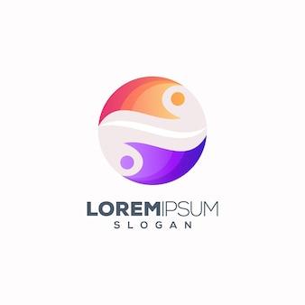 Logo abstrait personnes rondes colorées