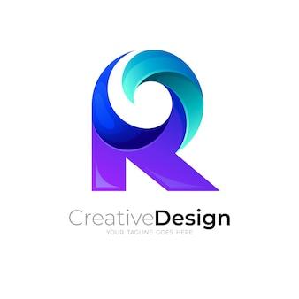 Logo abstrait r et combinaison de conception de vague, style 3d