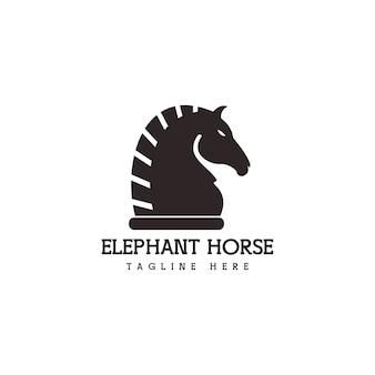 Logo abstrait unique de cheval d'éléphant