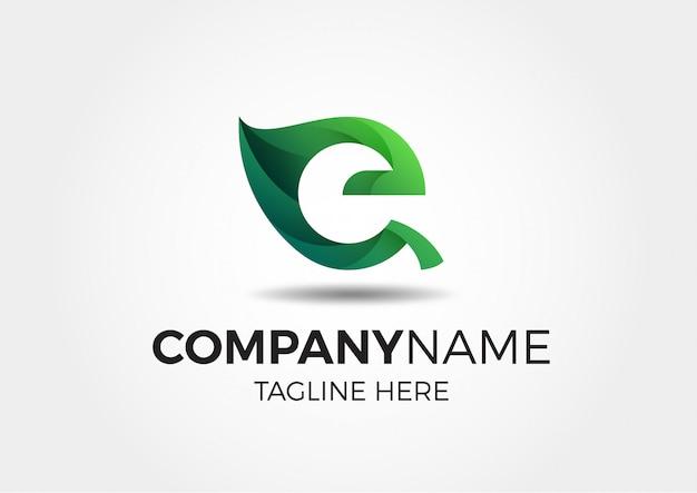 Logo abstrait vert eco leaf e